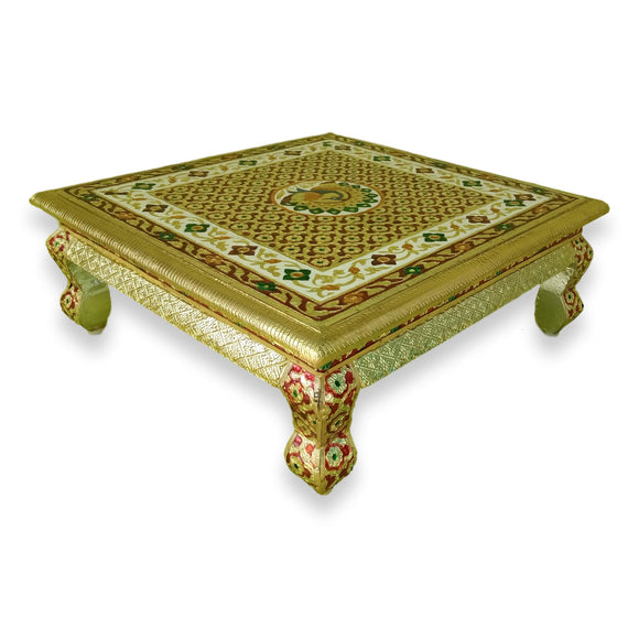 Persian Style Low Accent Table Vibrant Colors Peacock Design Enameled 18 Inch Bajoth Chowki