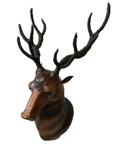 Large Deer Stag Head Leather Covered Paper Mache Wall Mount