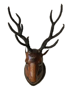 Leather Wall Décor papier Mache Deer Head Statue Handmade