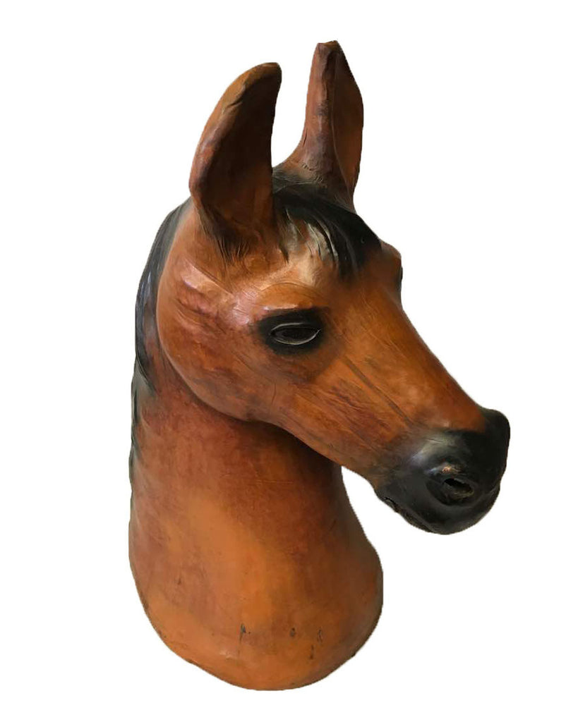 Large Horse Head Leather Covered Paper Mache Sculpture