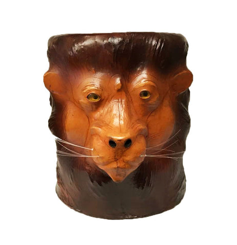 Handmade Safari Theme Wild Lion Embossed Handmade Papier Mache Stool End Table
