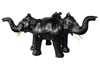 Three Elephants Sculpture Leather Covered Paper Mache Coffee Table