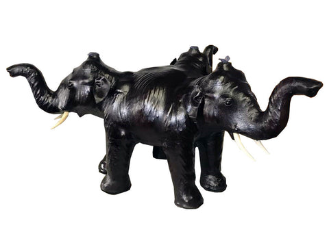 Handmade Safari Theme Leather Covered Handmade Paper Mache Asian Elephant Coffee Table