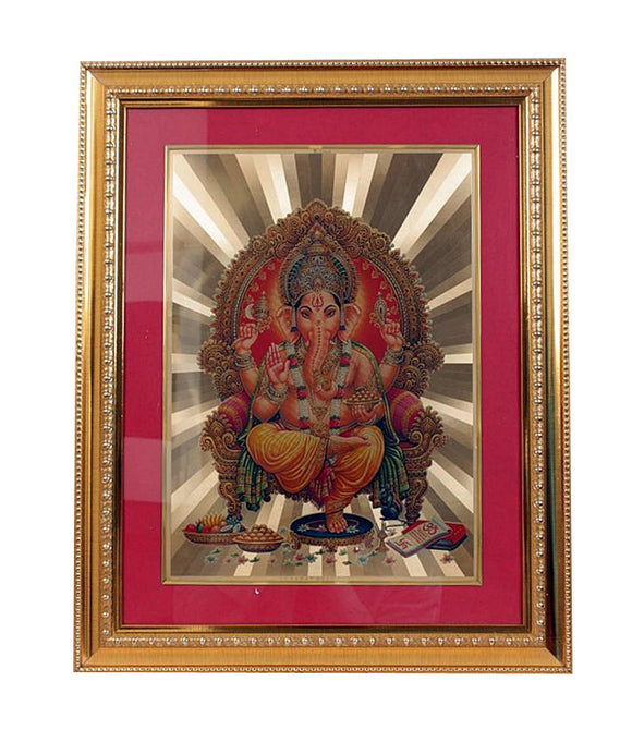 Golden Wall Photo Frame Hindu God Ganesh Spiritual