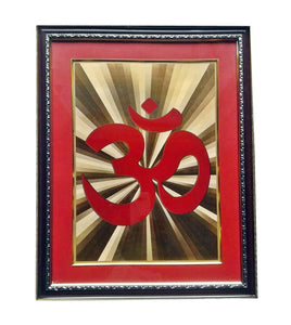 Golden Wall Photo Frame Hindu Spiritual AUM
