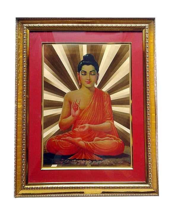Golden Wall Photo Frame Gautam Buddha Spiritual