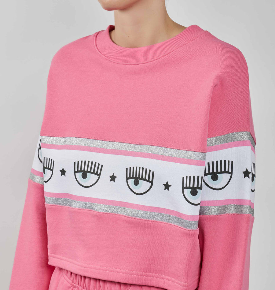 LOGOMANIA CROP SWEATSHIRT