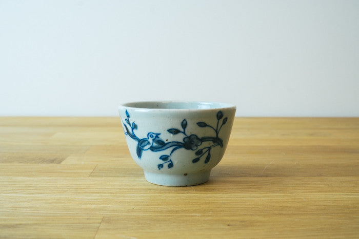Qing Dynasty Style Iron Flecked Teacup with Magpies