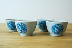 Qing Dynasty Style Iron Flecked Teacups with Phoenix Emblem (4-cups)