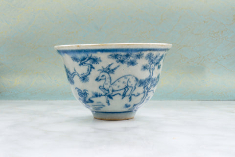 Qing Dynasty Style Iron Flecked Teacup with Antelope