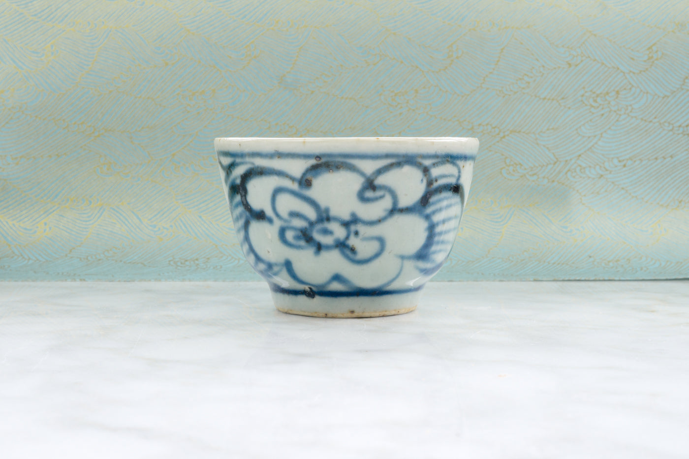 Qing Dynasty Style Iron Flecked Teacup with Persimmon