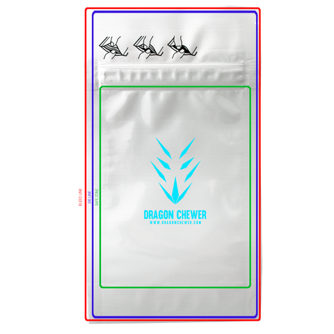 Custom child resistant mylar bags by Dragon Chewer