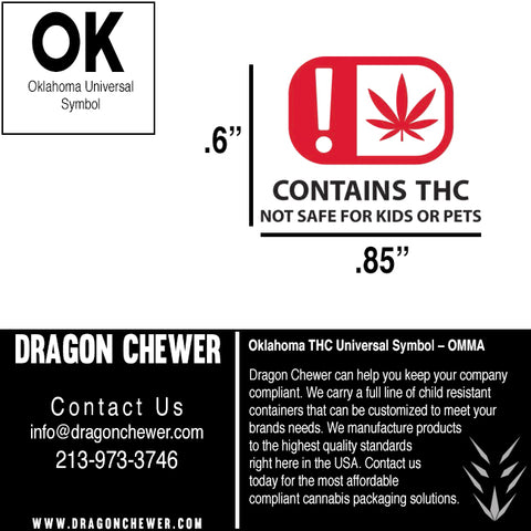 Oklahoma Labels - THC OMMA Compliance compliant dispensary labels stickers