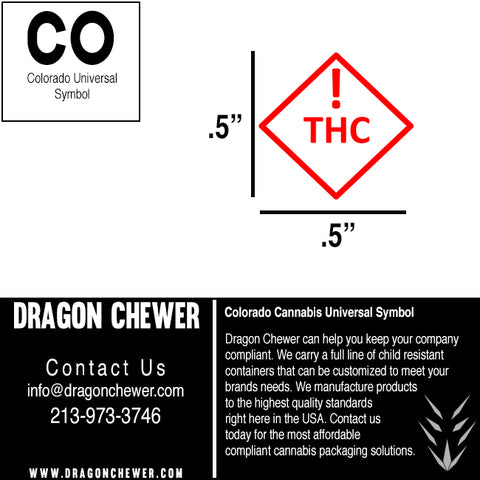 Colorado CO MED THC compliant compliance universal symbol free download strain labels