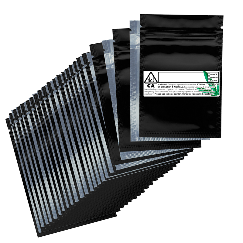 1 Gram Gloss Black & Clear Mylar Bags + Labels - (100 qty.)