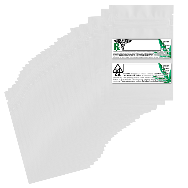 1 Gram Gloss White & Gloss White Mylar Bags + Labels - (100 qty.)