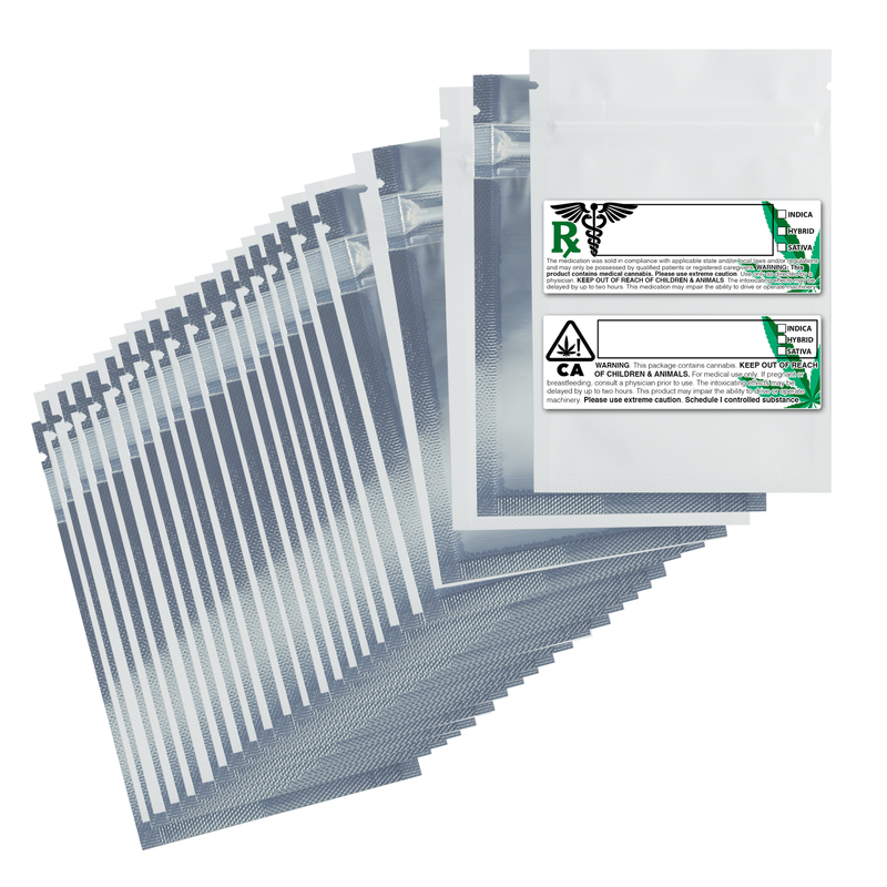 1 Gram Matte White & Clear Mylar Bags + Labels - (100 qty.)