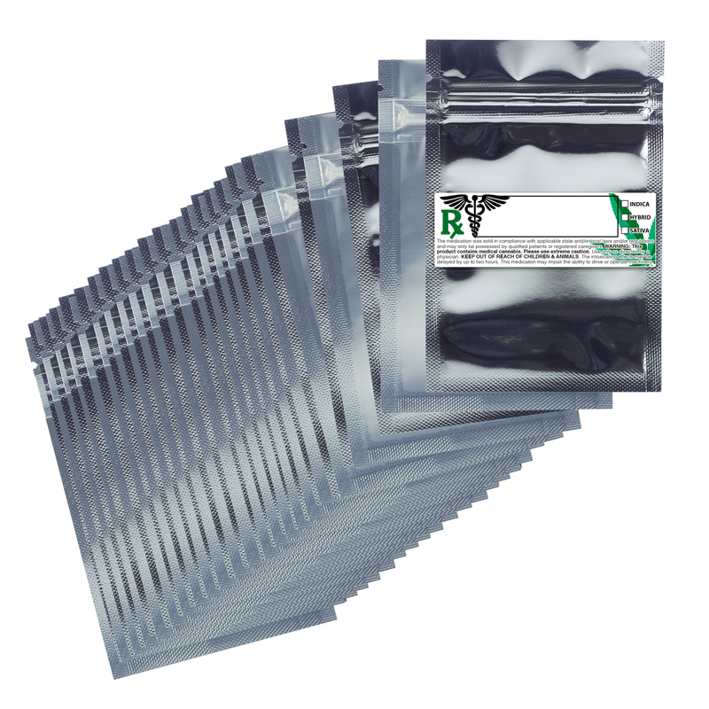 1 Gram Gloss Silver & Clear Mylar Bags + Labels - (100 qty.)