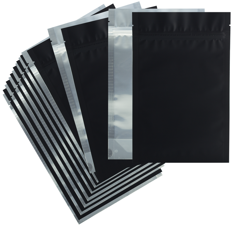 1 Ounce Matte Black & Clear Mylar Bags - (50 qty.)