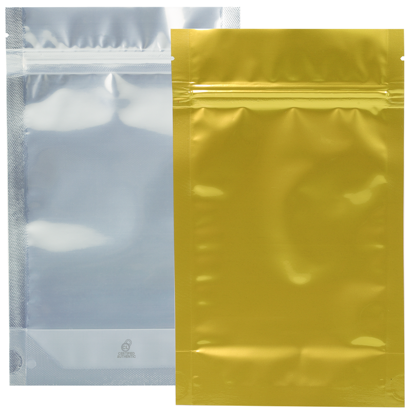 1/2 Ounce Gloss Gold & Clear Mylar Bags - (1000 qty.)