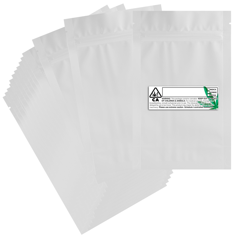 1/2 Ounce Gloss White & Gloss White Mylar Bags + Labels - (100 qty.)