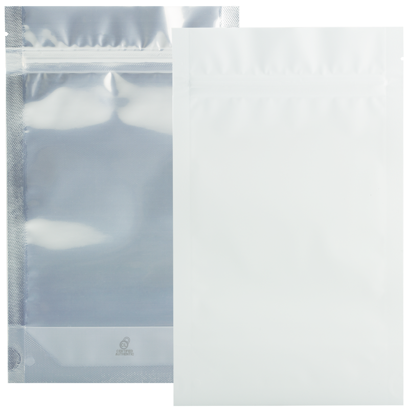 1/2 Ounce Matte White & Clear Mylar Bags - (50 qty.)