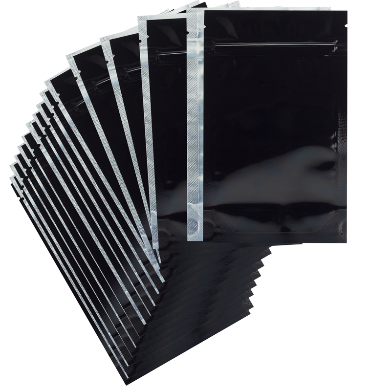 1/4 Ounce Gloss Black & Clear Mylar Bags - (50 qty.)