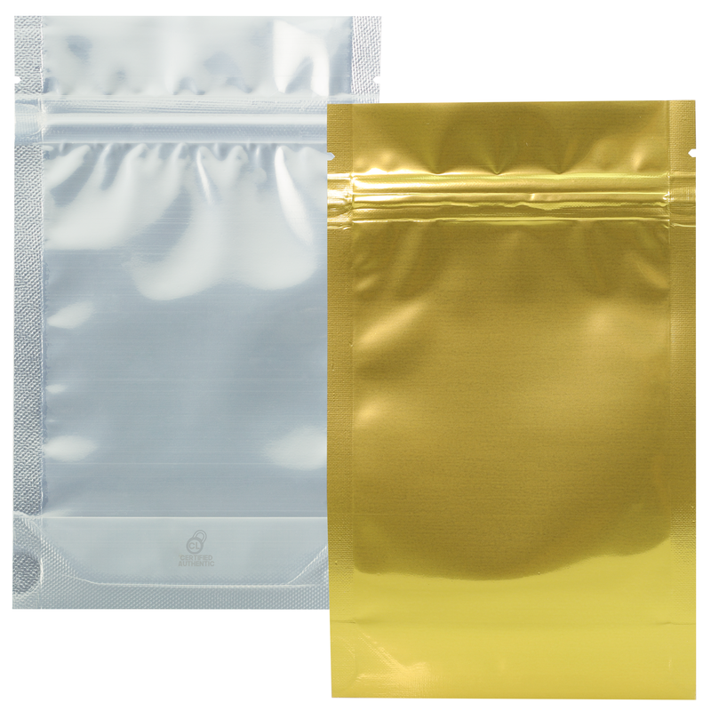 1/4 Ounce Gloss Gold & Clear Mylar Bags - (50 qty.)