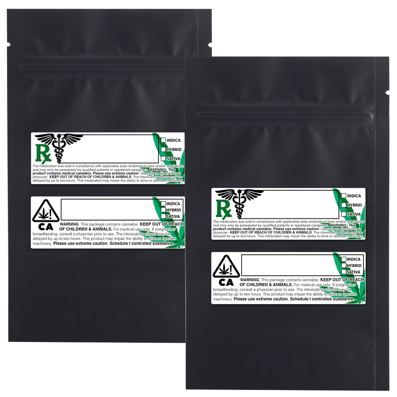 1/4 Ounce Matte Black & Matte Black Mylar Bags + Labels - (100 qty.)