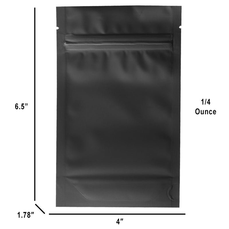 1/4 Ounce Matte Black & Clear Mylar Bags - (1000 qty.)