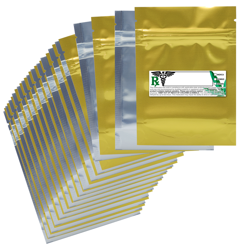 1/8 Ounce Gloss Gold & Clear Mylar Bags + Labels - (100 qty.)