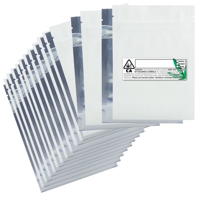1/8 Ounce Matte White & Clear Mylar Bags + Labels - (100 qty.)