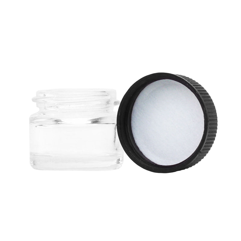 5ML Clear Glass Jar - Black Twist Cap (50 qty.)