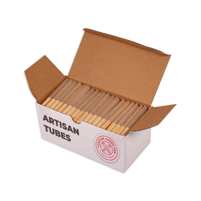 84mm Artisan Style Tube - Spiral Tips - Unrefined Brown [200 Tubes]