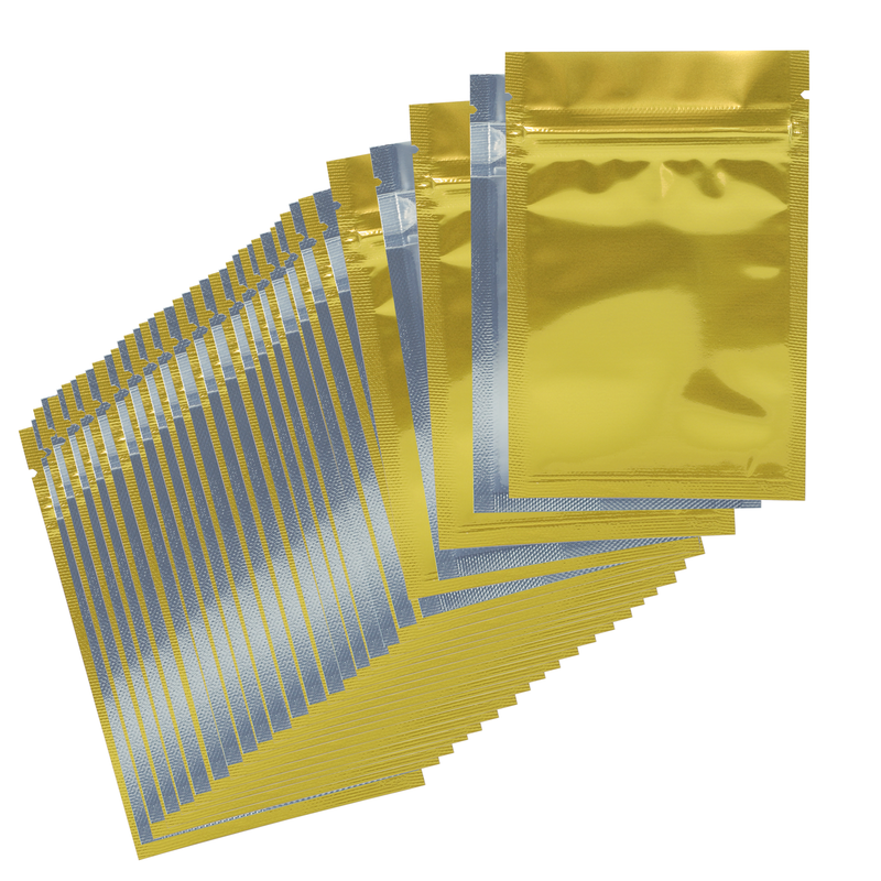 1 Gram Gloss Gold & Clear Mylar Bags - (50 qty.)