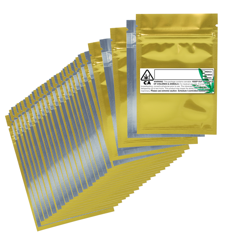 1 Gram Gloss Gold & Clear Mylar Bags + Labels - (100 qty.)