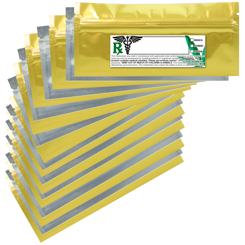 Pre Roll Gloss Gold & Clear Mylar Bags + Labels - (100 qty.)
