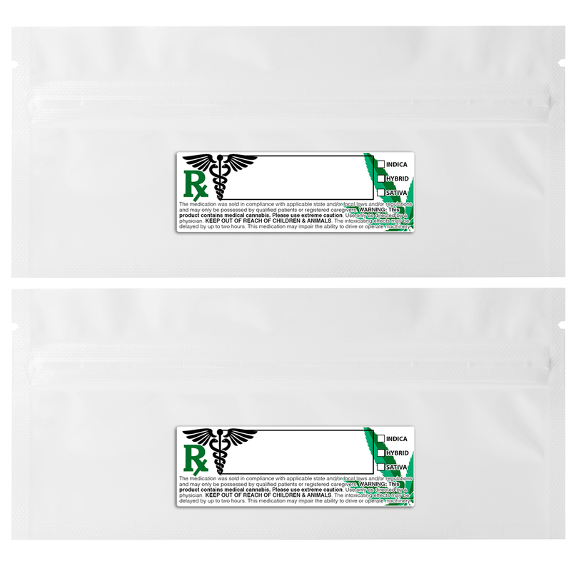Pre Roll Gloss White & Gloss White Mylar Bags + Labels - (100 qty.)
