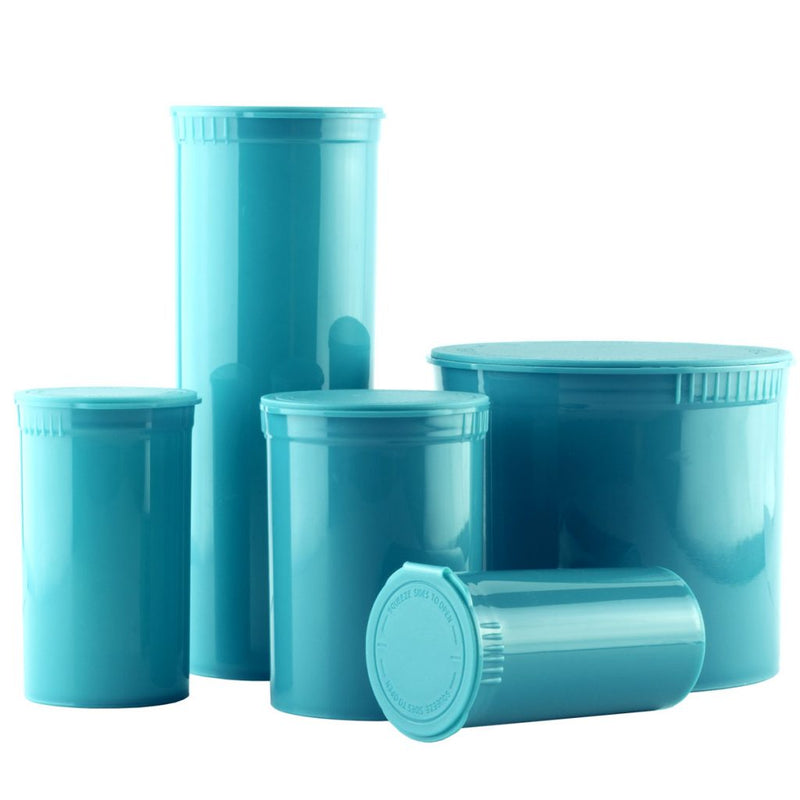 Certified child resistant pop top containers by dragon chewer - compliant marijuana packaging 13, 19, 30, 60, 90 dram bottles