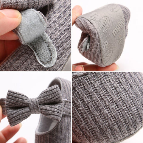 Grey Bow Soft Sole Baby Shoes