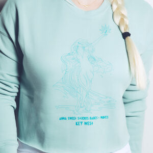 Babes & Waves - Dusty Blue Cropped Crew Fleece