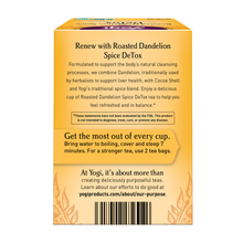 Load image into Gallery viewer, Yogi Roasted Dandelion Spice DeTox Tea directions
