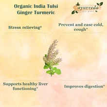 Load image into Gallery viewer, Organic India Tulsi Ginger Turmeric benefits