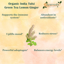 Load image into Gallery viewer, Organic India Tulsi Green Tea Lemon Ginger benefits