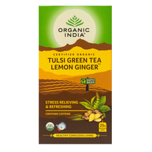 Load image into Gallery viewer, Organic India Tulsi Green Tea Lemon Ginger