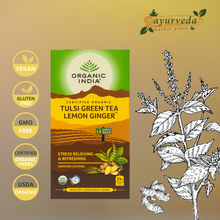 Load image into Gallery viewer, Organic India Tulsi Green Tea Lemon Ginger Vegan | Gluten Free | GMO Free | Tested Heavy Metal | Organic Herbs