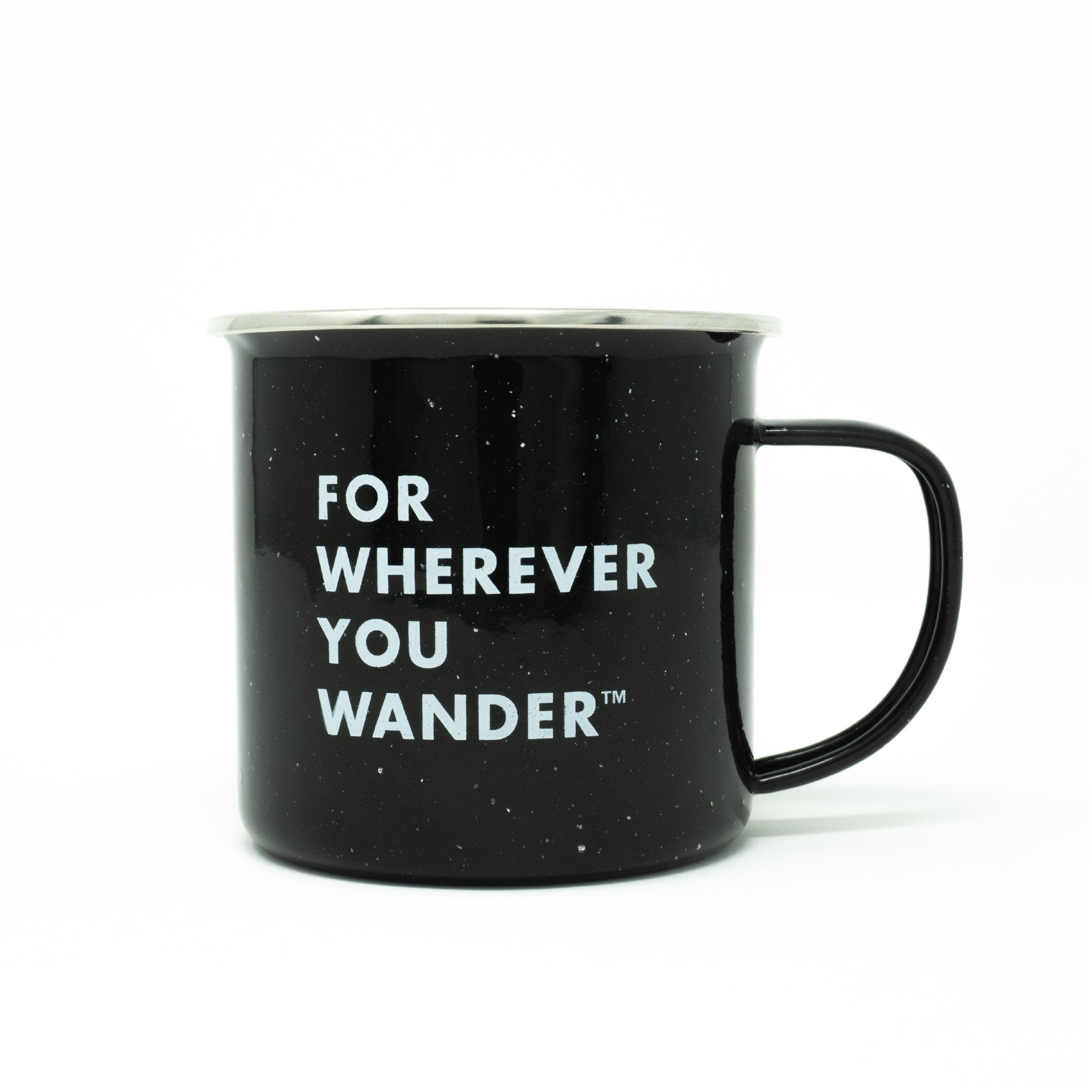 "Black coffee mug with ""For Wherever You Wander"" in white capitalized font."