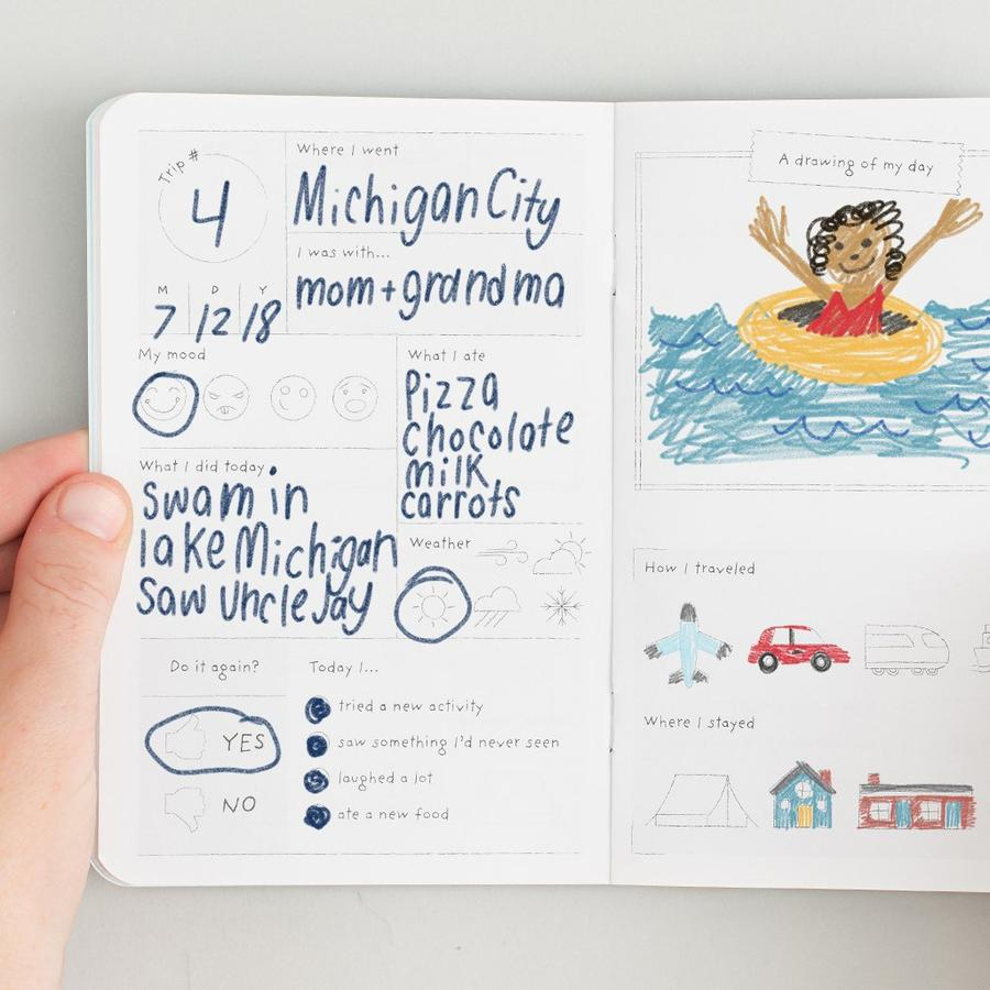 Example of entry in kids journal for recording trips he/she has taken.