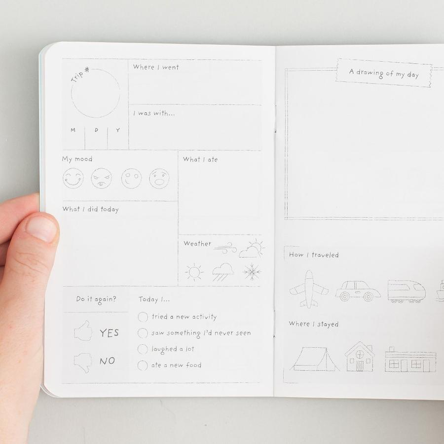Example of blank page within kids journal for recording trips he/she has taken.