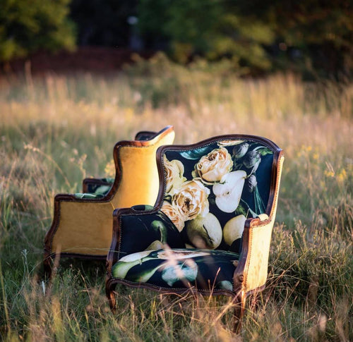 Furniture with bespoke flower and fruit print, BOLTE Home Textiles Collection